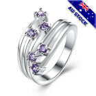 925 Sterling Silver Filled Purple Zircon Crystal Band Ring Jewelry Gift