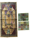 Bohemian Indian Handmade Patchwork Vintage Sari Wall Hanging With Cushion Cover
