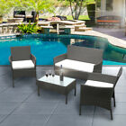 RATTAN GARDEN FURNITURE SET 4 PIECE CHAIRS SOFA TABLE OUTDOOR PATIO HOME LOUNGE