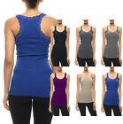 Basic Ribbed V-Neck Sleeveless with Lace Trim Detail Racerback Tank Top S ~ L