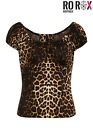 Hell Bunny Uma Panthera Leopard Print Vintage Retro 1950's Rockabilly Blouse Top