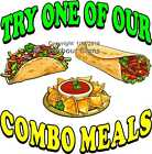 Combo Meals DECAL (Choose Your Size) Mexican Food Concession Food Truck Sticker