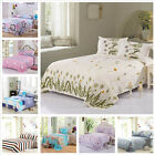 Full Queen Flat Bed Sheet 2 Pillowcases Cover Comfort Cotton Bedding Sheets