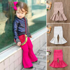 US Toddler Baby Girls Kids Bell Bottom Flare Pants High Waist Trousers Leggings