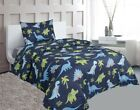 Внешний вид - Dinosaur Blue Lime Green Printed Sheet Set With Pillowcase Boys / Kids/ Teens