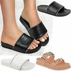 Womens Ladies Flat Studded Sliders Slip On Summer Mules Casual Rock New Size