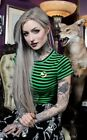 Sourpuss Clothing Gothic Goth Batty Crew Neck Top Tee Black Green Tshirt