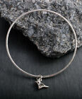 STERLING SILVER 925 SMALL BIRD SPARROW BANGLE ROUND OR SQUARE HAMMERED HANDMADE