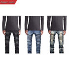 Mens Skinny Destroyed Slim Fit Straight Fashion Stretch Biker Zipper Jeans