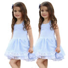 Toddler Kid Baby Girl Summer Clothes Stripe Lace Party Pageant Princess Dress H4