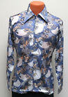 NEW vtg Burma MUTED BLUE FLORAL JAPANESE Disco Shirt SMALL Oleg Cassini 70s Bird