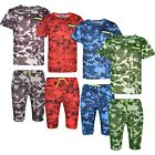 Boys T-Shirts & Shorts Set Army Military Camouflage Kids Clothes Ages 3-14 Years