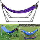 Double Hammock w Space Saving Steel Stand  Portable Case Desert Stripe Patio