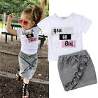 US Newborn Infant Kid Baby Girls Tops T shirt Skirts Floral Dress Outfit Clothes