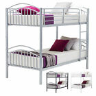 Black/White/Silver 3FT Single Metal Bunk Bed Frame Split into 2 Beds for Twins