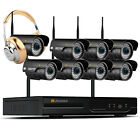 1080P 2MP 8CH Wireless HD WIFI Security IP Camera CCTV Audio System with HDD 2TB