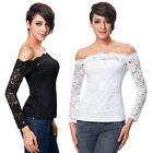 Women's Sleeve Floral Off Crop Lace Sexy Shoulder Long Black/ivory Tops Ladies