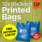 SMALL CARRIER BAGS, CUSTOM PRINTED ON STRONG PLASTIC POLYTHENE CARRIER BAGS