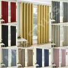 Vogue Thermal Block Out Lined Curtains Eyelet Ring Top Plain Textured Ready Made
