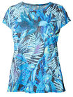 Ex M&S Teal Tropical Print Top / T Shirt / Holiday Top.....Some plus sizes