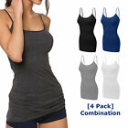 [4 pack] Women Long Cami Basic Tank Tops COTTON Blend Stretchy Top W/ Straps