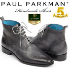 Paul Parkman Wingtip Ankle Boots Gray Hand-Painted  New Luxury Gift for Men