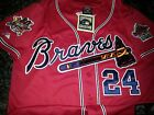 NEW! RED! Atlanta Braves Throwback #24 Deion Sanders Dual patch Stitched Jersey on Ebay
