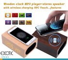 Wooden clock MP3 + stereo speaker touch + QI wireless charging iPhoneX, iPhone 8