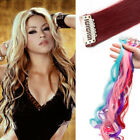 UK Highlight Streaks Straight Wavy Clip in Synthetic Hair Extensions Blue Red