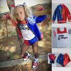 kids coats for girls - Girls Kids Suicide Squad Harley Quinn Cosplay Pants Shorts Coat Suit 4PCS Xmas