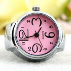 Fashion Colorful Finger Ring Watch Creative Steel Tone Round Dial Elastic Quartz
