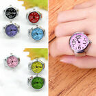Fashion Colorful Finger Ring Watch Creative Steel Tone Round Dial Elastic Quartz image