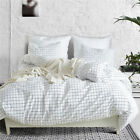 Luxury Bed Linen Lattice Comforter Duvet Cover Adults White Bedding Set Double