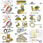 STRONG PACKING TAPE LONG LENGTH - BROWN / CLEAR / FRAGILE / STICKY PARCEL TAPE..