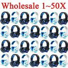 LOT 1~50PCS Gaming Headset Surround Stereo Headband Headphone USB 3.5mm W/LED EO
