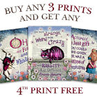 ALICE IN WONDERLAND Dictionary Page ART PRINT Vintage Antique PICTURE QUOTE Wall