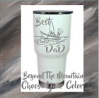 Monogram Vinyl Decal For Tumblers Cups, Sticker With Best Dad Fishing Quote