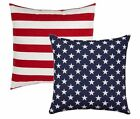 Stars and Stripes Pillows, American Flag REVERSIBLE Pillow, Red Navy Pillows