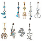 Lot Fashion Body Piercing Jewelry Crystal Dangle Button Belly Navel Ring Adroit