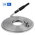 25-100 Ft Stainless Steel Metal Garden Water Hose Lightweight Flexible Resistant