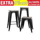 4x Replica Tolix Xavier Kitchen Steel Wooden Seat Bar Stool Black White 46/66/76