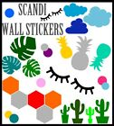 Scandi Wall Sticker Minimalist Vinyl Home Decor Decal Cacti Multilisting Clouds