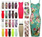 Womens New Style Celebrity Floral Print Design Ladies Bodycon Midi Dress Girls