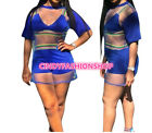 Lady Three Piece Set Outfits Crop Casual Short Pants See Through Tunice JS2