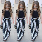 USA Fashion Toddler Kids Baby Girl Tops T shirt+Stripe Long Pants Outfit Clothes