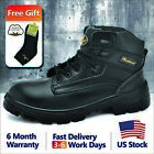 Safetoe Mens Safety Shoes Work Boots Steel Toe Black Cow Leather M 8356B US6 14