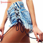 Women Sexy Jeans Denim High Waist Stripper Beach Bottoms Swimwear Outfit Shorts