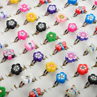 100/50pcs Wholesale Lots Mixed Polymer Clay Children Kids Boys Finger Rings Gift