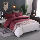 Floral Quilt Doona Covers Set Double Queen King Size Bed Linen Duvet Cover Red