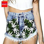 Women Denim Weed Marijuana Cannabis Pot Leaf Print High Waist Jeans Pants Short